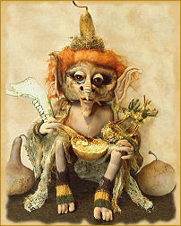Gore-don, a gourd-head doll by Patti LaValley