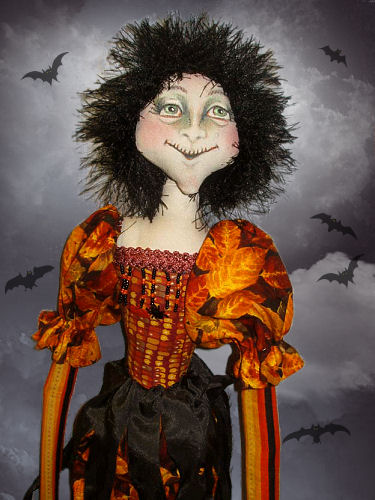 Folkart Halloween Primitive Witch Doll -SPPO Masquerade Merry Ann